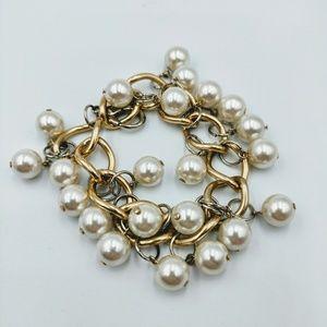Dangly Faux Pearl Gold Silver Tone Chain Bracelet
